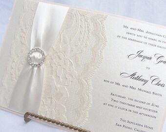 Lace Wedding Invitation, Lace Wedding Invite, Lace Invite, Vintage Invitation, Lace Invitation, Ivory Lace Invite LENA - CIRCLE