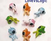 4 Baby Deer Woodland Animals Soft Plastic 3D Charms. 2 Tones. Mix Colors. Cute.