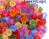 80 Acrylic Flower Beads Charms in Mix Matte Colors