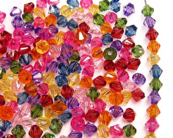 450 Acrylic Faceted Retro Kitsch Bicone Beads.5mm.Icy Mix Colors.