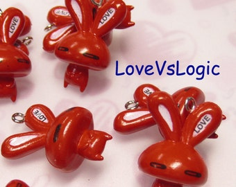 4 -LOVE-  Bunny Soft Plastic Charms. Dark Red Tone