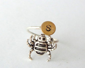 Halloween spider initials personalized silver ring, adjustable ring, animal ring, silver ring, statement ring