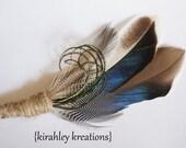 THANDION RUSTIC -- Blue Mallard Duck Feather, Guinea, Emu, Herl and Burlap Wedding Groom Groomsmen Boutonniere Lapel Pin Buttonhole Keepsake