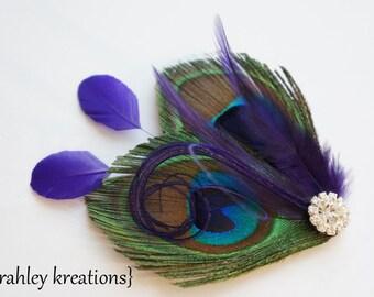 Peacock Feather Hair Clip GHEA REGENCY PURPLE Headpiece Fascinator Rhinestone Wedding Bride Bridal Bridesmaid Prom Dance Holiday Party