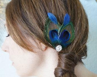 Mini Peacock Feather Hair Clip Bright Blue Plumage Rhinestones Fascinator Bride Bridal Bridesmaids Flower Girl Prom Headpiece Hairpiece