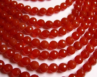 Carnelian faceted 10mm round beads - 1 full strand - 38 beads per strand - AA quality