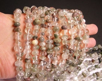 Lodolite - bead - full strand - rounded nugget - pebble - A quality - 58 beads per  strand - NRG51