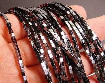 Hematite square  2x2mm - full strand - 153 beads - cube hematite -  AA quality - CHG30