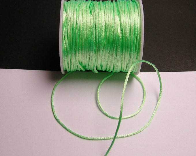 Satin Rattail Cord - knotting/beading cord -1.5mm - 65 meter - 213 foot - light green - SSC25