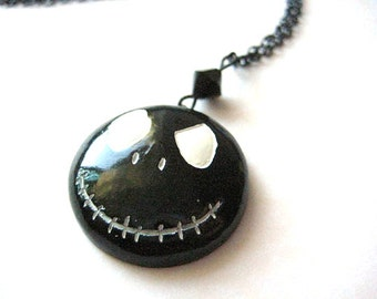 Jack Skellington Necklace,Halloween Jewelry, Jack Necklace, Black Jewelry, Black Necklace, Halloween Necklace