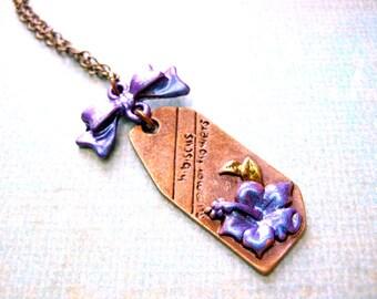 Purple Flower Necklace, Floral Necklace