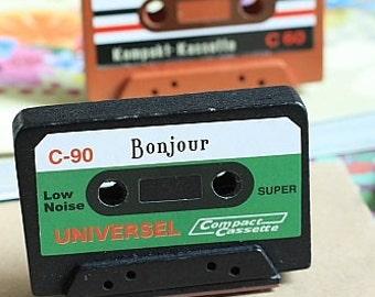 Stamp-Rubber Stamp-Vintage Cassette Tape Stamp-Bonjour