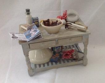 "DOLLS HOUSE MINIATURES - ""Chocolate Cake"" Preparation Table"