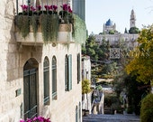 Yemin Moshe, Mishkenot Sheananim alley, Jerusalem, photography,Old city view, Balcony with flowers