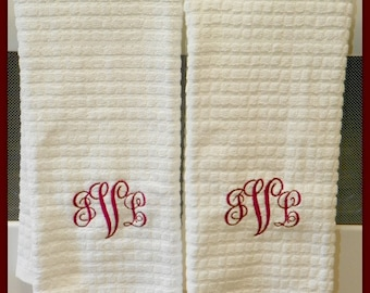 Personalized Kitchen Towel Set  Your choice of font and thread