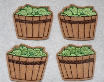 Feltie Machine Embroidered Hand made (4) Felt Apple Basket CUT Embellishments / appliques