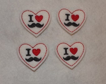 Feltie Machine Embroidered Hand made (4) Felt I heart Mustache CUT Embellishments / appliques