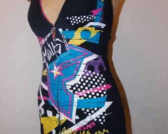 SALE Famous Stars and Straps Colorful Upcycled Hoodie Halter Tank Top