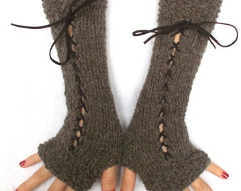 Knit Fingerless Gloves Long Wrist Warmers Brown Corset  Gloves with Suede Ribbons Victorian Style
