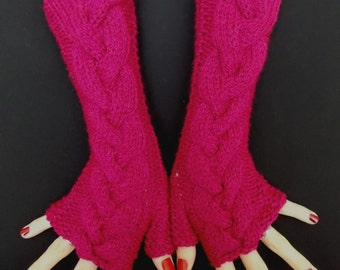 Fingerless Gloves Acrylic Dark Pink/ Fuchsia  Wrist Warmers  Cabled Soft