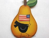 Hand Painted Pear Shaped Magnet, Black Crow and American Flag, Tole Painted, Primitive Style Magnet, Folk Art Magnet, Americana Magnet