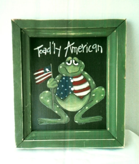 Tole Painting Pattern, Toad'ly American Toad with Patriotic Vest and USA Flag, Toad or Frog, July 4th Decoration, Instructional Pattern