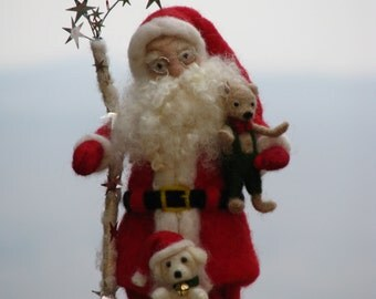 Christmas Needle felted Santa Claus Home decoration