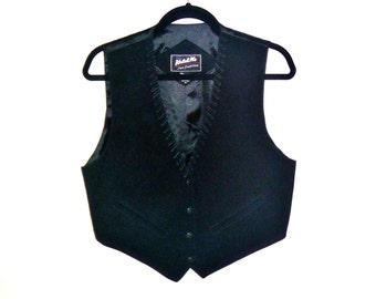 Vintage Black Suede Leather Cowboy Vest with Leather Lacing on Borders by Katch Me Men's Medium