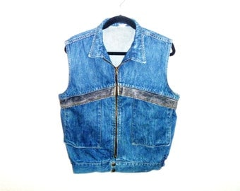 Vintage 1980's Men's Large Denim Jean Vest by MIDDY Border Patrol British Raj Security Purpose
