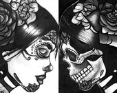 Day of the Dead Archival Print Set of 2 -  black and white woman illustration sugar skull and skeleton