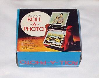 Vintage Roll A Photo Desk Table Top Accessory Clear Acrylic Plastic 50 Sleeves Photo Album NIB NOS Hong Kong Retro 70s Decor
