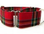 Red Plaid Martingale Dog Collar - 1.5 Inch Wide - Scottie Plaid