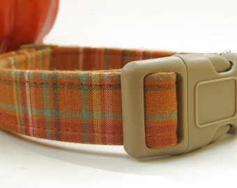 Pumpkin Pie Plaid Dog Collar
