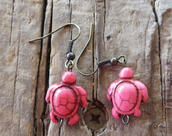 Bright Pink Howlite Turtle Earrings