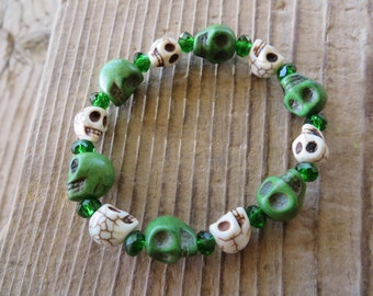 Green And White Skulls With Green Crystals Stretch Bracelet