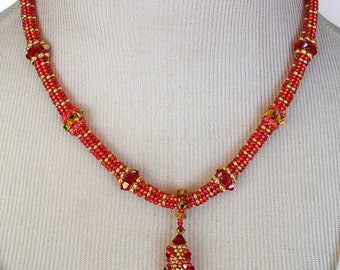 SALE- Scarlet Gold Woven Necklace