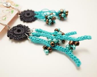 Crochet Lace Jewelry (Coral I-b) Fiber Jewelry, Clip Earrings, Crochet Earrings