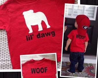 Personalized lil dawg tshirt Toddler Kids football UGA University of Georgia GA Bulldogs sports Preppy