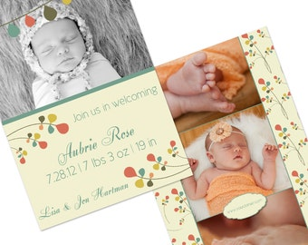 Instant Download Birth Announcement Template - FOLK FLOWERS-3 - Perfect for Photographers - 5x7 Flat - Two Sided