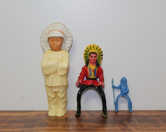 Lot of Three Vintage Indian Figures, Plastic Indian Toys