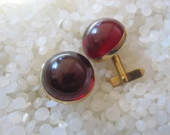 amazing vintage, cuff links ruby red and gold, vintage 1950 cuff links, SALE