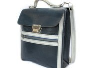 Bennie, French Vintage, 1970s Navy and White Leather Satchel Handbag, from Paris