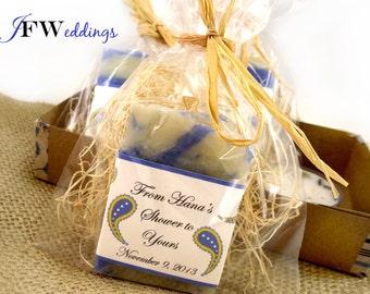 10 Vegan SOAP Favors ~ Bridal Shower~ Wedding ~ Rustic Barn Chic Blue Paisley or Custom Label Design ~ Handmade in 7 days