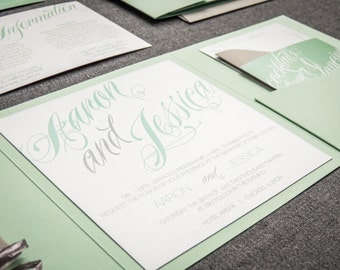 "Mint Green Wedding Invitations, Green and Grey Invitations, Modern Striped Invites with Raffia - ""Sweeping Script"" Pocketfold, No Layers, v2"