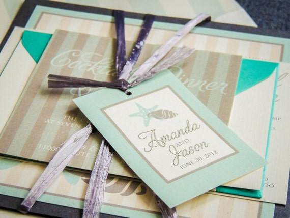 Beach Wedding Invitations, Striped, Tropical Invites, Blue, Turuqoise, Grey & Cream, Starfish and Shell - Flat Panel, 1 Layer, v2 - SAMPLE