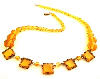 CZECH Vintage Jewelry yellow gemstones crystals Art Deco necklace 1930s Czechoslovakian Authentic Vintage Jewelry Amber Yellow SALE was 95