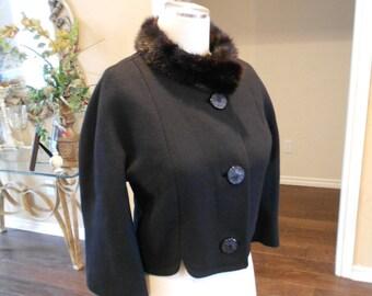 60s Mink Collar Jacket / Black Wool Cropped Jacket / 1960s Cropped Jacket / Jackie O Jacket / Size 8
