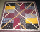 Colorful Machine quilted 55 inch square Quilt  /   Lap Quilt