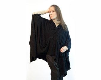Blouse,tunic,black blouse,black tunic,knitted tunic,long sleeve,knit,Tunic/Top,Original, Size Plus,one size Item T-17