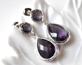 Bridesmaid Purple amethyst Earrings Studf post  Briolette Framed Glass Sterling Silver